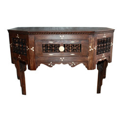 Badia Design Inc. - Wall Mounted Carved Wood Cabinet - Wall Mounted Carved Wood Cabinet with Bone Inlay – It is made of dark wood and has one drawer in the middle. Cabinet is designed to be mounted on the wall at the height of your preference. It is also designed with Moucharabieh paneling making for a beautiful wall piece.