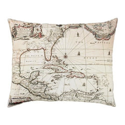 """Exposures - Old World Map Pillow - Overview Anyone who dreams of visiting far-flung destinations or appreciates the adventurous spirit of the early explorers will love this decorative map pillow from the Colonial Williamsburg Foundation. The Old World map design will complement a travel-themed room or add a worldly touch to any cozy spot. The 100% cotton cover zips off for easy cleaning.   Features 100% cotton pillow cover Polyester fill Cover zips off for easy cleaning From the Colonial Williamsburg Foundation Comes with a story card   Specifications  Measures 18"""" x 14"""""""