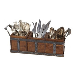 """Europe2You - Wood and Metal Silverware Caddy - Casual outdoor dining is elevated to elegance with our portable silverware caddy. Three removable boxes made of reclaimed wood nest in a weathered metal frame to house knives, forks, and spoons for easy access on the patio. Hand crafted by artisans in Hungary, this utensil holder warmly invites guests to the start of a memorable meal. It offers a rustic touch and is the stylish option for transporting and displaying flatware.      * Dimensions: 5""""W x 5""""H x 19""""D"""