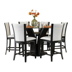 Homelegance - Homelegance Daisy Round Counter Height Table in Espresso - Daisy collection combines superb visual appearance and fine quality that you need in your dining area. Five table options are available in regular height and counter height with matching side chair in two bi-cast vinyl covers - white and dark brown. Constructed of Hardwood solids and cherry veneers in a high gloss espresso finish.