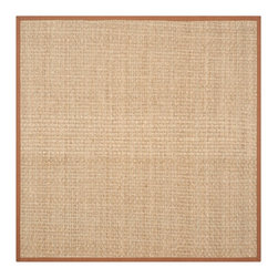 Safavieh - Connolly Natural Fiber Rug, Natural / Brown 8' X 8' - Construction Method: Power Loomed. Country of Origin: China. Care Instructions: Vacuum Regularly To Prevent Dust And Crumbs From Settling Into The Roots Of The Fibers. Avoid Direct And Continuous Exposure To Sunlight. Use Rug Protectors Under The Legs Of Heavy Furniture To Avoid Flattening Piles. Do Not Pull Loose Ends; Clip Them With Scissors To Remove. Turn Carpet Occasionally To Equalize Wear. Remove Spills Immediately. Hand-woven with natural fibers, this casual area rug is innately soft and durable. This densely woven rug will add a warm accent and feel to any home. The natural latex backing adds durability and helps hold the rug in place.