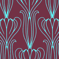 Plum and Turquoise Bela Temporary Wallpaper - If you want to create beautiful surroundings in a playroom but can't or won't commit to permanent wallpaper, consider this temporary geometric design. Easy to reapply, reposition, and remove, this is a great option in a room that seems to change week to week.