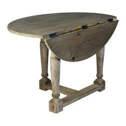 Kathy Kuo Home - French Country Cottage Drop Leaf Prague Table - A rustic elm table top, this is French country shabby chic at its finest. Fold one leaf down for use as a console or dine with three friends at this intimate, vintage, collapsible table.