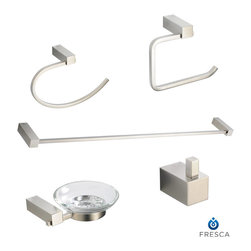 "Ottimo 5 Piece Bathroom Accessory Set Brushed Nickel - All of our Fresca bathroom accessories are made with brass with a triple brushed nickel finish and have been chosen to compliment our other line of products including our vanities, faucets, shower panels and toilets.  They are imported and selected for their modern, cutting edge designs.  Fresca Ottimo 26"" Towel Bar (FAC0437BN) - Dimensions:  26""W x 3""D x 1""H. Fresca Ottimo Soap Dish (FAC0403BN) - Dimensions:  5.5""W x 5""D x 1.5""H. Fresca Ottimo Toilet Paper Holder (FAC0427BN) - Dimensions:  5""W x 2.5""D x 5.5""H. Fresca Ottimo Towel Ring (FAC0425BN) - Dimensions:  2.5""W x 5.5""D x 8.25""H. Fresca Ottimo Robe Hook (FAC0401BN) - Dimensions:  1""W x 1.5""D x 1.5""H. Heavy Duty Brass with Triple Brushed Nickel Finish"