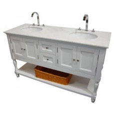 Westwood (double) 60-Inch Transitional Wht/ Wht Bath Vanity Set With Faucets Bat