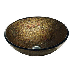 "Vigo - Vigo VG07025 Textured Copper Vessel Sinks 16-1/2"" Textured Copper Hand - Vigo 16-1/2"" Textured Copper Hand Painted Tempered Glass Vessel SinkThis opulent vessel bowl from Vigo is smooth on its interior surface, but its textured exterior is revealed on the inside of the bowl in an array of coppers and reds.Included with Purchase :Textured Copper Vessel SinkProduct Features :Handmade with possible unique and slight color variations, so no two sinks are identicalSolid tempered glass Scratch-resistant glassNon-porous surface prevents discoloration and fadingStain-resistant, easy to clean surfaceStandard drain openingPolished glass interior with textured exteriorAbove counter installationLimited Lifetime WarrantySink Specifications :Material : Tempered glassSink Diameter : 16-1/2""Glass thickness : 1/2""Height : 6""Installation : Above counterDrain opening : 1-3/4"""