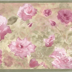 York Wallcoverings - Green Watercolor Pink Floral Wallpaper Border - Wallpaper borders bring color, character and detail to a room with exciting new look for your walls - easier and quicker than ever.
