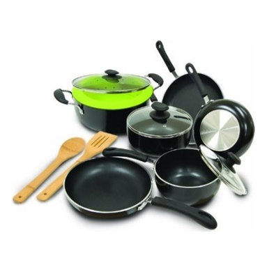 """Epoca - Heavy Weight Cookware Set - Cook well and Do Good with this Ecolution Eco-Friendly 12 Pc. Heavy Weight Cookware Set. Ultra thick aluminum pans guarantee even heating for optimum performance. Squeezable silicone handles always keep cool. Non-stick Hydrolon coating is an ecologically advanced water based coating that is made without PFOA for fewer greenhouse gases. Glass lids let you see what's cooking without letting heat escape. Dishwasher Safe. Set includes: 8"""" Fry Pan, 9.5"""" Fry Pan, 11"""" Fry Pan, 1 Qt. Saucepan with glass lid, 2 Qt.Saucepan with glass Lid, 5 Qt. Dutch Oven with glass lid, Collapsible Silicone Steamer, Bamboo Spoon and Bamboo Spatula. Packaging printed on 70% recycled materials."""