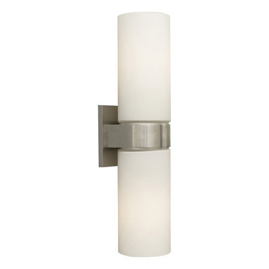 Hudson Bath Bar by Tech Lighting - Hudson bath bar features white cylindrical glass shades with a simple metal base available in Chrome, Satin Nickel and Antique Bronze.