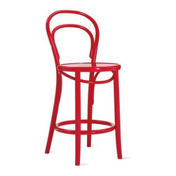 Ton - Era Counterstool or Barstool - Defined by its dependable bentwood construction and simple form, the Era Chair (1859) has been in continuous production for more than 150 years. By making the back of the chair and rear legs from a single piece of curved wood, designer Michael Thonet Ò who perfected the bentwood process for chair-making Ò eliminated the need for expensive and time-consuming hand-carved joints. The resulting chair is graceful, lightweight and surprisingly strong Ò the latter of which has been continually proven in cafes and restaurants all over the globe. Made in the Czech Republic by a company that has been in continuous operation for more than a century.