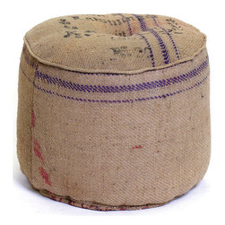 Vintage Sack Ottoman - Another Green product from our Vintage Farmhouse Furniture Collection! This adorable vintage round burlap sack ottoman is made of vintage burlap (obviously!). This sack can be thrown in any room and will create an instant vintage look! We have it on our showroom floor and it really stands out as something cool!