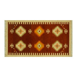 Area Rug, Anatolian Kilim 100% Wool Hand Woven 3'X5' Flat Weave Rug SH6308 - Soumaks & Kilims are prominent Flat Woven Rugs.  Flat Woven Rugs are made by weaving wool onto a foundation of cotton warps on the loom.  The unique trait about these thin rugs is that they're reversible.  Pillows and Blankets can be made from Soumas & Kilims.