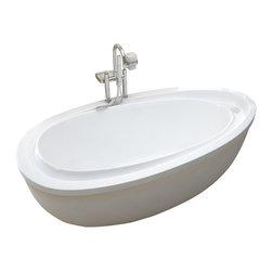 Venzi - Venzi Tullia 38 x 71 Oval Freestanding Soaker Bathtub - The Tullia freestanding bathtub series design resembles the water droplet resonance phenomena. The sloped inner edge of the bathtub creates two comfortable inclining armrests.