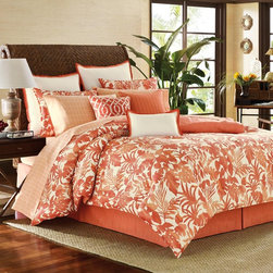 Tommy Bahama - Tommy Bahama Palma Sola 3-piece Duvet Cover Set - Leafy tropical foliage lends warmth to this Palma Sola duvet cover and sham set. Crafted with soft cotton sateen,this button-closure coral,white and orange Tommy Bahama bedding is fully machine washable.