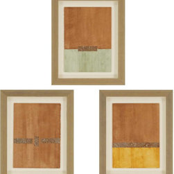 Paragon Decor - Visceral Effect I Set of 3 Artwork - Exclusive Watercolor on Fine Art Paper with Embossed Metal Accents