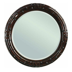 Lexington - Tommy Bahama Home Island Traditions Newbury Round Mirror - Pair this tropical round mirror with a buffet or dresser or use it alone to bring light and a decorative flourish to the wall of any room. Crafted from mahogany veneers and solids, the handsome frame is meant to invoke sophisticated tropical style with its bamboo-esque ridging and leather strapping like that used in traditional bamboo furniture construction. Makes a fabulous pair with the British Colonial-style dressers and chests in this collection.