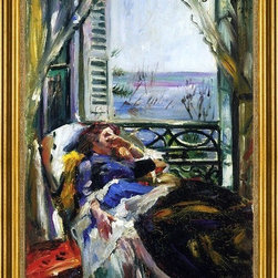 """Lovis Corinth-16""""x24"""" Framed Canvas - 16"""" x 24"""" Lovis Corinth Woman in a Deck Chair by the Window framed premium canvas print reproduced to meet museum quality standards. Our museum quality canvas prints are produced using high-precision print technology for a more accurate reproduction printed on high quality canvas with fade-resistant, archival inks. Our progressive business model allows us to offer works of art to you at the best wholesale pricing, significantly less than art gallery prices, affordable to all. This artwork is hand stretched onto wooden stretcher bars, then mounted into our 3"""" wide gold finish frame with black panel by one of our expert framers. Our framed canvas print comes with hardware, ready to hang on your wall.  We present a comprehensive collection of exceptional canvas art reproductions by Lovis Corinth."""