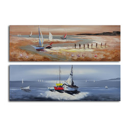 "Duo of sailboat seascapes Hand Painted 2 Piece Canvas Set - Size: 20"" x 60"" x 2pc"