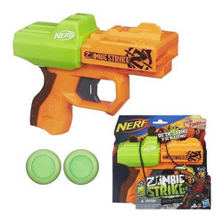 KOOLEKOO - Nerf Zombie Strike Ricochet Disc Blaster - Take a shot at ending the zombie apocalypse! The Nerf Zombie Strike Ricochet Disc Blaster is the perfect sidearm to keep at your side during your campus zombie hunts or any fun LARPing you have planned for the weekend. It's small form factor allows this weapon to remain safely at your side until the moment of last resort. Use it to hunt fake squirrels, or should the unimaginable happen and you find yourself infected with the zombie plague you can take aim at as many of your now undead former friends and loved ones to save the survivors, while saving the last disc to end your own time on this planet before you too join the walking undead hordes. The Ricochet Blaster is fun for the whole family!