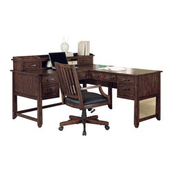 Wynwood - Wynwood SBH L Desk with Hutch in Dark Sable - Divide your home office space with this SBH L Desk with Hutch by Wynwood Furnitures. This piece is specially designed for those working from home and/or those who are in search of a more organized home life. F eaturing six drawers (2 box drawers, 2 utility drawers, and 2 file drawers), this desk makes bill payment, taxes, and management of family documentation a cinch.  The desk hutch features two additional drawers, three pigeon hole compartments, and an open top shelf divided into three sections.