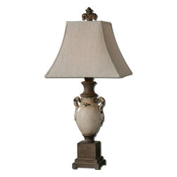 Uttermost - Uttermost 27437 Francavilla Ivory Table Lamp - Uttermost 27437 Francavilla Ivory Table LampHeavily distressed, antiqued, crackled ivory ceramic with rust bronze details. The square top, rectangle bottom, bell shade is a khaki linen fabric with natural slubbing.Uttermost 27437 Specifications: