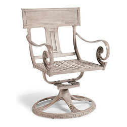 Frontgate - Athens Swivel Dining Arm Chair, Patio Furniture - Solid cast aluminum frame. Hand-rubbed finish is formulated to weather the elements. Optional cushions (sold separately) are constructed of a high-resiliency foam core and covered with 100% solution dyed fabric. The most influential and successful chair of all time is the Greek klismos. Dating back to 6th century BC, this chair has stood the test of time. Athens - our 21st century interpretation - will do no less. Crafted in sold cast aluminum, the generously scaled dining chair features the iconic klismos backboard and vertical splat. The outswept tapered legs seem to flow from the back in one continuous curve, tapering elegantly as they reach the floor.  .  .  .