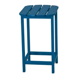 Polywood - Eco-friendly Counter Side Table in Pacific Blue - You'll create the perfect setting to relax and enjoy with that someone special. Want to turn your outdoor living space into the hottest spot in the neighborhood? Its easy with the South Beach Collection. Just like the popular Miami Beach scene, You'll enjoy an eclectic blend of bold art deco along with the relaxed comfort and style that you've come to expect from traditional Adirondack furniture. This collection not only looks amazing, but its also built to last for years to come. Provides the look of painted wood without the maintenance