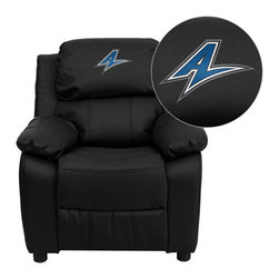 "Flash Furniture - North Carolina - Asheville Bulldogs Black Leather Kids Recliner with Storage Arm - Get young kids in the college spirit with this embroidered college recliner. Kids will now be able to enjoy the comfort that adults experience with a comfortable recliner that was made just for them! This chair features a strong wood frame with soft foam and then enveloped in durable leather upholstery for your active child. This petite sized recliner features storage arms so kids can store items away and retrieve at their convenience. North Carolina - Asheville Embroidered Kids Recliner; Embroidered Applique on Headrest; Overstuffed Padding for Comfort; Easy to Clean Upholstery with Damp Cloth; Flip-Up Storage Arms; Storage Arm Size: 3.25""W x 6""D x 11""H; Solid Hardwood Frame; Raised Black Plastic Feet; Intended use for Children Ages 3-9; 90 lb. Weight Limit; Black LeatherSoft Upholstery; LeatherSoft is leather and polyurethane for added Softness and Durability; CA117 Fire Retardant Foam; Safety Feature: Will not recline unless child is in seated position and pulls ottoman 1"" out and then reclines; Overall dimensions: 25""W x 26"" - 39""D x 28""H"