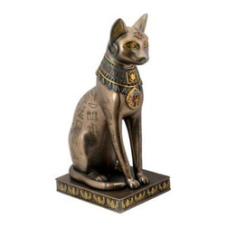 YTC Summit 11.75H in. Deluxe Bronze Cat - Deluxe comes to you in the form of expert attention to detail and eye-catching color in this YTC Summit 11.75 in. Deluxe Bronze Cat. Presented in elegant Egyptian style this Bastet cat is highlighted by the hieroglyphics carved into his body colorful jewelry on his face and around his neck and a unique flat base that makes the sculpture easy to display. Constructed from durable and long-lasting resin the sculpture is sure to please any enthusiast of ancient Egypt.
