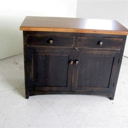 2 Door Antique Style Server With Black Base - Made by http://www.ecustomfinishes.com