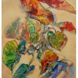 A Calm Descends (Original) by Sandy Bennett - Really really liked this bright juicy watercolor of begonia leaves, but just felt the need to calm it down. I rolled over it with a soft peachy gouache color and it made me so happy. Like a calm had descended into my life - oh how I needed that.
