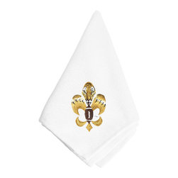 Caroline's Treasures - Fleur de lis Tiger Football Napkin 8205NAP - Fleur de lis Tiger Football Napkin 8205NAP Dinner Napkin - 100% polyester - wash, dry and lay flat.  No ironing needed.  20 inch by 20 inch