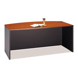 Bush Business - Bow Front Desk in Auburn Maple - Series C - The Series C Auburn Maple Bow Front Desk complements any upscale office decor scheme.  This versatile desk accepts a right or left return, accommodates two 3-drawer, 2-drawer, or 3/4 pedestals, and can accept either a keyboard shelf or a pencil drawer. * Diamond Coat� top surface is scratch and stain resistant. Desktop & modesty panel grommets for wire access. Accommodates two 3-Drawer, 2-Drawer, or 3/4 Pedestals. Accepts right or left return. Accepts Keyboard Shelf or Pencil Drawer. Durable PVC edge banding protects desk from bumps and collisions. 70.984 in. W x 36.063 in. D x 29.842 in. H