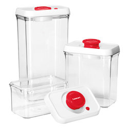 Cuisinart - Cuisinart Fresh Edge 6-Piece Vacuum Sealed Food Storage Containers, Red - Food storage containers and lids with built-in vacuum pump