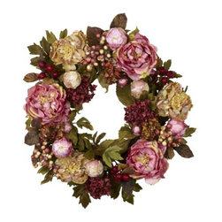 Nearly Natural - 24 Inch Peony Hydrangea Wreath - Here s a beautiful wreath that both a bold statement in color, but also subtle in its effect as well. The Peony flowers circle round with buds, berries, and greens, giving a texture and hue that definitely draws the eye. Yet the colors, while bold, remain earthy in look, ensuring a stately appearance that s perfect for the holidays or year-round. At a full 24 , it s sure to become one of your favorite decorations.