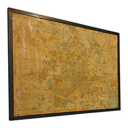 "ReCoop Designs - Large Vintage Map of Houston - This vintage map was pulled from a midtown warehouse located in Houston, TX. We did an industrial cleaning of the piece, wrapped it with steel, and fastened it with rivets. It measures 76"" long x 54"" high x 2"" thick."
