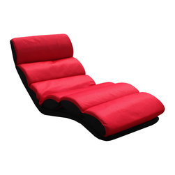 None - K&B Red Folding Lounge Chair - Relax in ultimate luxury with this cozy and stylish lounge chair. This stylish chair features a five-way position for backrest and seat to keep your head and feet cradled in comfort.