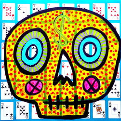 """Las Vegas Casino Card Series Skull Original Artwork by Stucky - 24x24"""" retired Las Vegas Casino playing cards mounted on a birch panel Acrylic and oil signed and dated"""