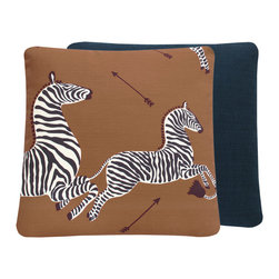 "Chloe and Olive - Scalamandre Brown Zebra Print Decorative Throw Pillow, Right Facing 20x20"" - This iconic, prancing print by Scalamandre will bring vivacity and glamour to a couch, bed or chair. With a stunning pair of zebras on each throw pillow, the exquisite combination of safari brown, black and white will be a favorite for many seasons to enjoy. Scalamandre is a well known manufacturer of the finest quality fabrics for over 80 years."