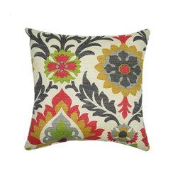 Land of Pillows - Waverly Sun N Shade Santa Maria Jewel Damask Style Floral Outdoor Pillow, 16x16 - Fabric Designer - Waverly