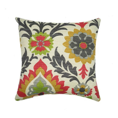 Land of Pillows - Waverly Sun N Shade Santa Maria Jewel Damask Style Floral Outdoor Pillow, 16x16 - Fabric Designer - Waverly