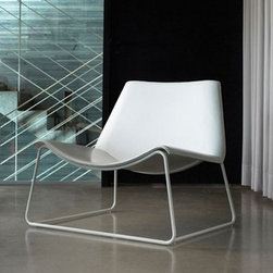 """Modloft - Modloft   Earl Lounge Chair - Made in Brazil by Modloft.Broad comfort in a streamlined lounge chair. The Earl Lounge Chair features a stainless steel frame with a contoured leather seat. The deep seat pan creates low """"arm rests"""" for the frame's casual, reclined frame.The Earl Lounge Chair is from Modloft's European-quality range of furniture elements that are moderately priced and designed with a clean, modern aesthetic.Available in a variety of leather and frame finish options."""
