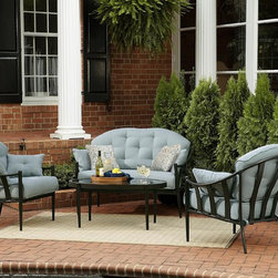 Chandler 4-Piece Outdoor Seating Set - These have the perfect cool blue, all-weather fabric. This four-piece set will look great on my deck this summer.
