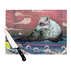 "Kess InHouse - Mat Miller ""Lone Wolf"" Cutting Board (11"" x 7.5"") - These sturdy tempered glass cutting boards will make everything you chop look like a Dutch painting. Perfect the art of cooking with your KESS InHouse unique art cutting board. Go for patterns or painted, either way this non-skid, dishwasher safe cutting board is perfect for preparing any artistic dinner or serving. Cut, chop, serve or frame, all of these unique cutting boards are gorgeous."