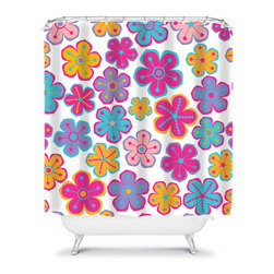 Shower Curtain Flower Turquoise Hot Pink 71x74 Bathroom Decor Made in the USA - DETAILS: