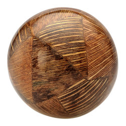 Kouboo - Decorative Ball with Coconut Shell Inlay, Brown - With an inlay of coconut shell, this distinctive decorative ball ensures that the tropics will never be far from your home. This handmade accent piece can stand alone or be combined with other decorative balls for an unforgettable effect.