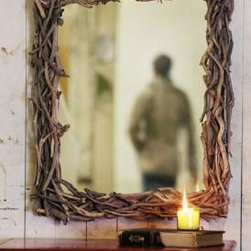 driftwood mirror - This rustic mirror adds texture and a natural element to your bathroom, bedroom, entryway or over the mantle.