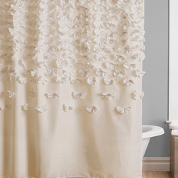 Lush Décor - Ivory Lucia Shower Curtain - Shower in style with this classy curtain. Showcasing silk charmeuse alongside exquisitely handmade floral details, this sophisticated accent can be easily installed for an instant bathroom makeover.   100% polyester Dry clean Imported