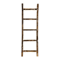 Shea's Wildflowers - Vintage Wooden Ladder - With a rustic-inspired design and quality wooden construction, this ladder is bound to add a farmhouse feel to any living room.   15'' W x 48'' H Wood Imported
