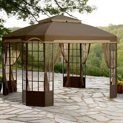 Garden Oasis Bay Window Gazebo - I have wanted a gazebo for years. The first year in our house, 2006, my family and I tried a low-cost option. It did not last long in windy Chicago at all. Next time I will look for a more sturdy option like this one.